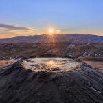 sunset in Mud Volcanoes. Buzau county, Romania